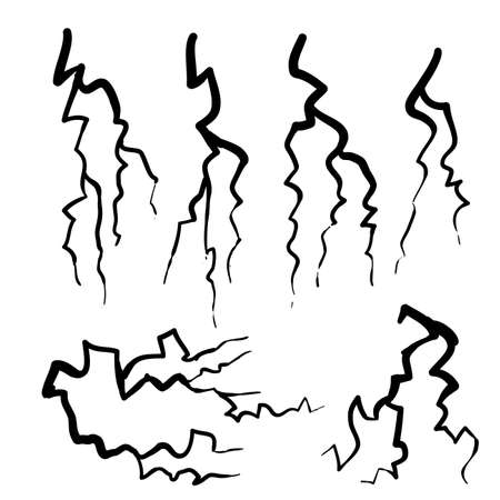 hand drawn Blitz lightning thunder light sparks storm flash thunderstorm. Power energy charge thunder shock doodle style illustration