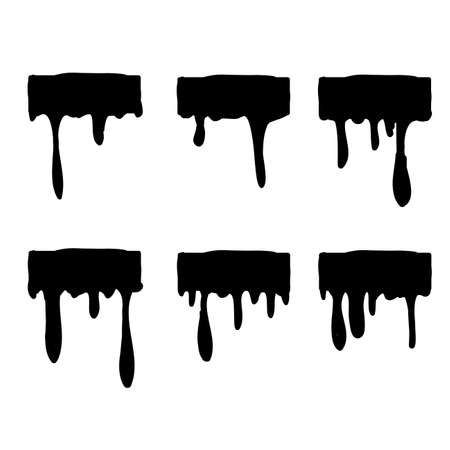 black Dripping oil blob. Drip drop paint or sauce stain drips hand drawn doodle style vector