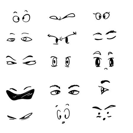 various of eyes icon handdrawn doodle symbol for Visible, sleep and medicine supervision observe, lens or cry, eyesight health vector cartoon style