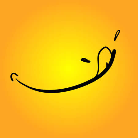 hand drawn Yummy face tongue smile delicious icon logo Illusztráció