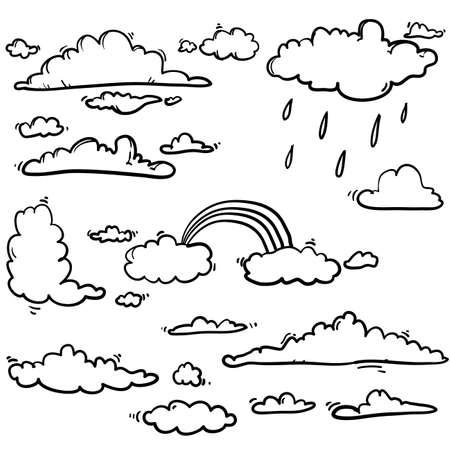 handdrawn doodle ilustración de nube única en vector de estilo de dibujos animados