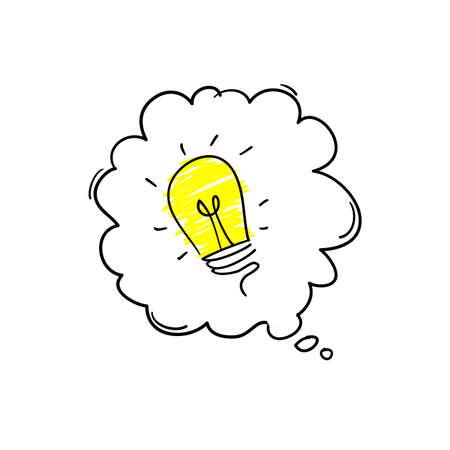 Glühbirne und Sprechblase handgezeichnetes Doodle-Stil-Vektorsymbol für Idee Vektorgrafik