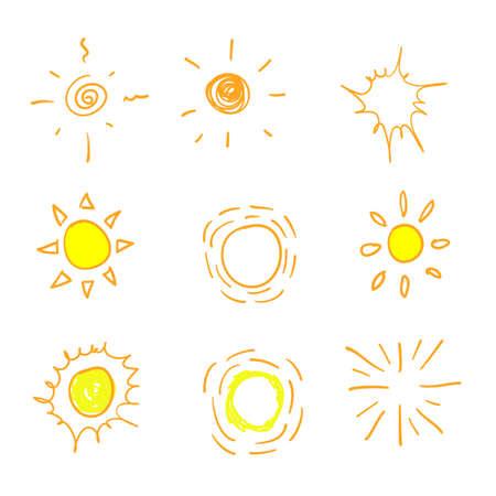 scarabocchiare, sole, illustrazione, vettore, isolato, bianco, fondo Vettoriali