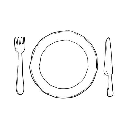 plate, knife and fork Vector illustration handdrawn doodle style