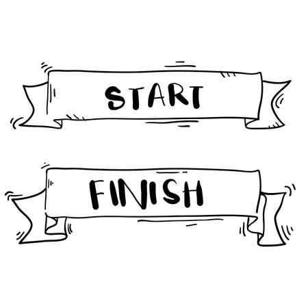 Banners de línea de inicio y meta dibujados a mano, serpentinas, banderas para eventos deportivos al aire libre: carrera de competencia, carrera con estilo de dibujos animados de doodle