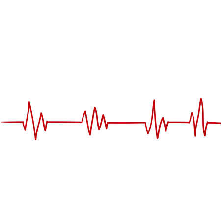 Heartbeat line. Pulse trace. EKG and Cardio symbol. Healthy and Medical concept handdrawn doodle illustration