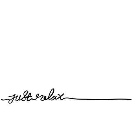 JUST RELAX brush calligraphy banner with doodle style Çizim