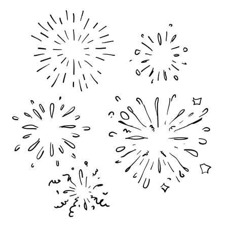 Fireworks composition with doodle images of firework spots of different shape cartoon handdrawn style
