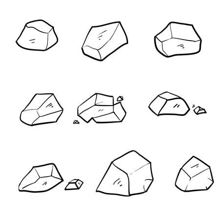 doodle stone illustration vector isolated on white background 向量圖像