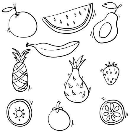 Doodle fruits collection illustration handdrawn cartoon style