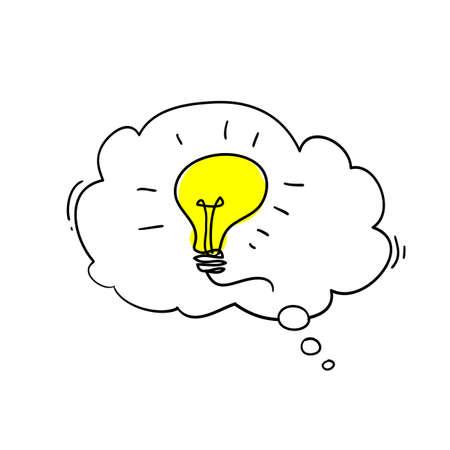 Speech bubble light lamps Idea Creative idea Concept of idea and innovation with light bulb illustration doodle cartoon style Çizim