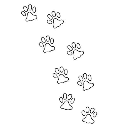 hand drawn doodle of animal footprint with cartoon style vector Illustration