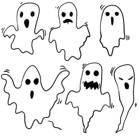 doodle Halloween ghosts with Boo scary face shape. Spooky ghost white fly fun cute evil horror silhouette for scary october holiday design or costume with cartoon style Ilustrace