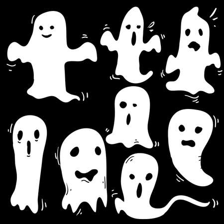 doodle Halloween ghosts with Boo scary face shape. Spooky ghost white fly fun cute evil horror silhouette for scary october holiday design or costume with cartoon style Ilustração Vetorial