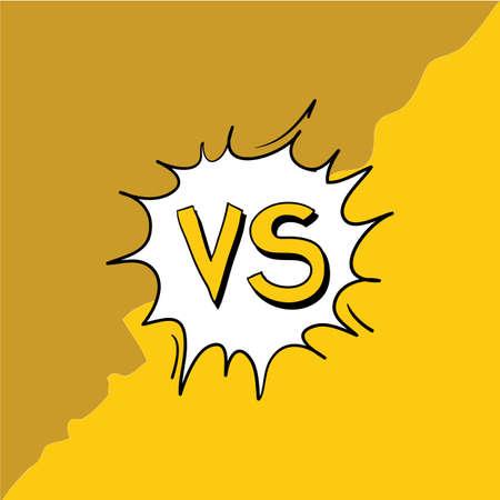 Concept VS. Versus. Fight. Yellow retro background comics style design doodle handdrawn cartoon