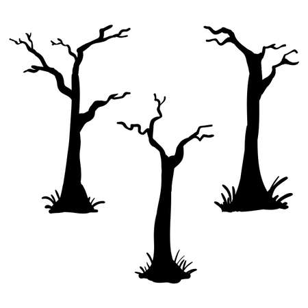 Collection of trees silhouettes handdrawn doodle
