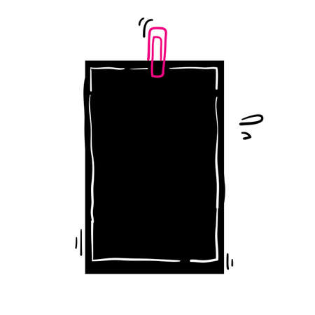 paperclip with blank white notepaper handdrawn doodle style vector