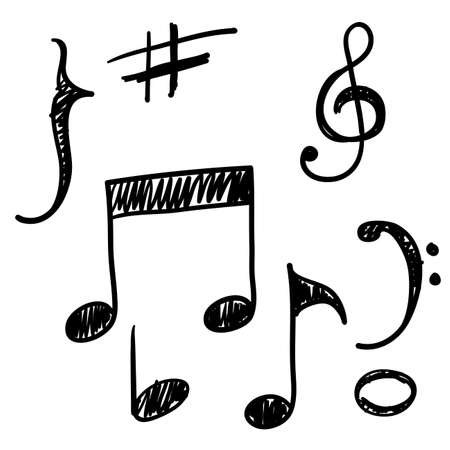 Note Music Icon Vector Design with handdrawn doodle style