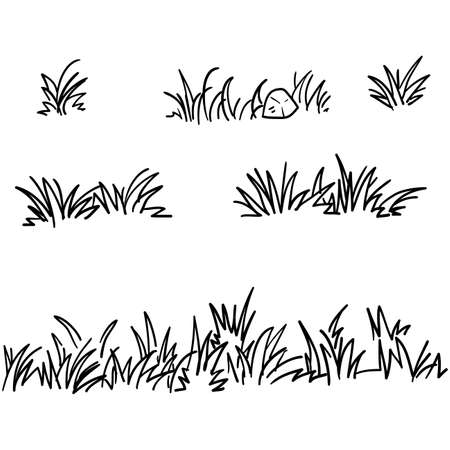doodle herbe illustration collection style dessiné à la main Vecteurs