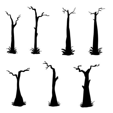 collection of tree silhouette with doodle handdrawn style