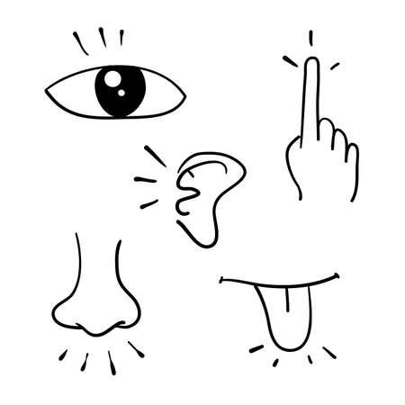 Conjunto de iconos de cinco sentidos humanos doodle estilo dibujado a mano