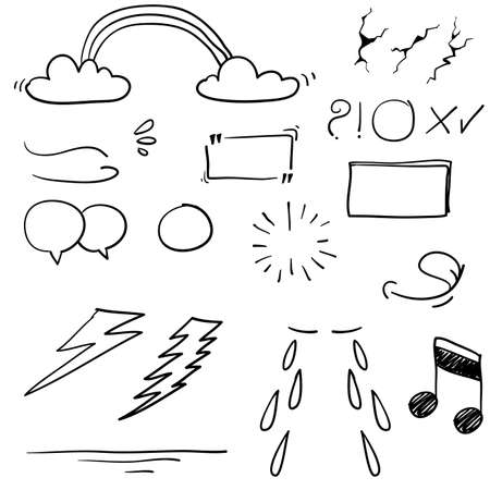 Hand drawn design elements, speech bubble, star, sun,light,check marks,rainbow,thunder,Swishes, swoops, emphasis ,swirl, heart, on white background. doodle vector