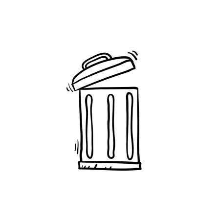 trash can illustration with handdrawn doodle style vector Vettoriali