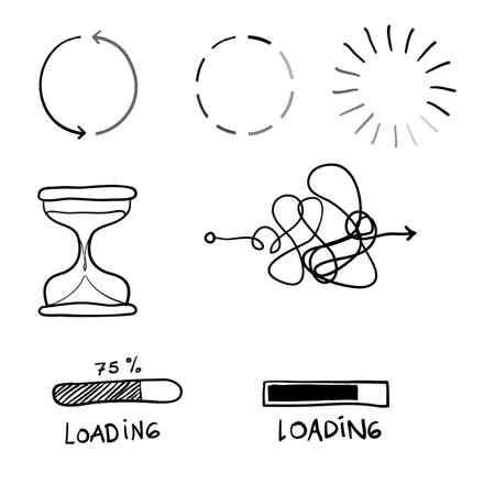 Doodle ilustración de proceso de carga con vector de línea dibujada a mano