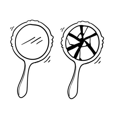 retro hand mirror drawing set, new and broken with doodle cartoon style vector Illustration