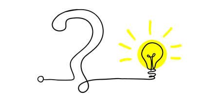 Simplificando lo complejo, confusión, claridad o camino. concepto de idea vectorial con bombillas doodle ilustración Ilustración de vector