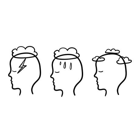 Head profile with storm cloud rain and clear sky. Mindfulness and stress management in psychology with handdrawn doodle style 矢量图像