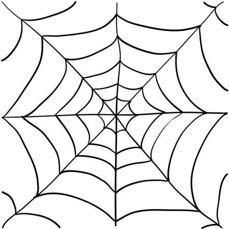 spinnenwebillustratie met handgetekende doodle-stijl