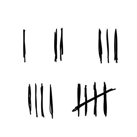 Tally marks, prison wall isolated. Counting signs with handddrawn doodle style