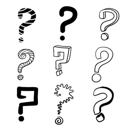 hand drawn question mark with doodle cartoon style 向量圖像
