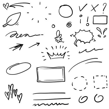 Swishes, swoops, emphasis doodles. Highlight text elements, calligraphy swirl, tail, flower, heart, graffiti crown.doodle handdrawn style Illusztráció