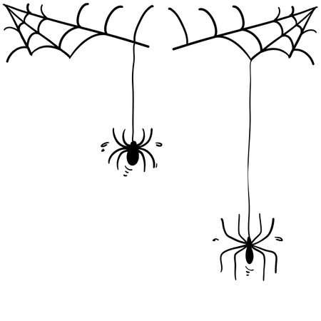 Spinnennetzillustration mit handgezeichnetem Gekritzelstil Vektorgrafik