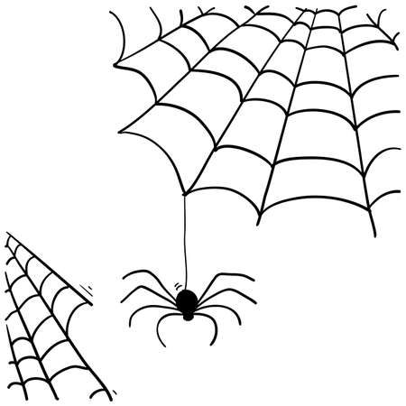 spider web illustration with handddrawn doodle style