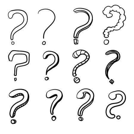 Set of hand drawn question marks. with cartoon line art style vector illustration