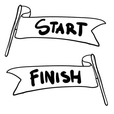 handdrawn start and finish line banners, streamers, flags for outdoor sport event, competition race, run. with doodle cartoon style Vector Illustration