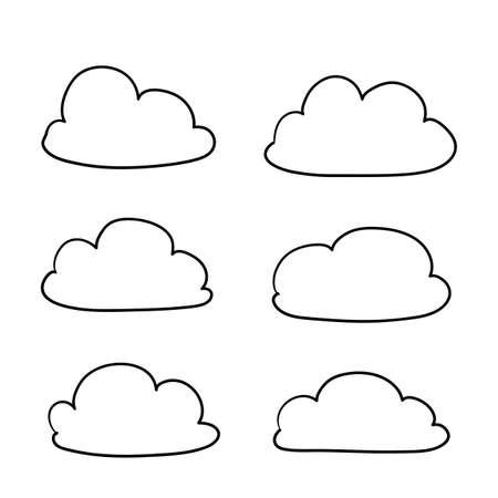 Wolkenikone mit Hand gezeichneter Gekritzelkarikaturartillustration lokalisiert auf weißem Hintergrund