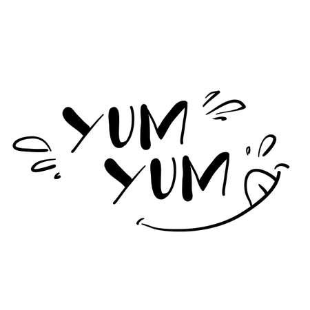 hand writing illustration symbol for delicious food taste with doodle cartoon style Illusztráció