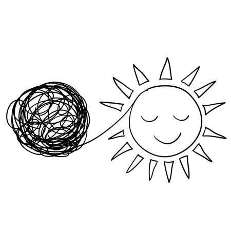 Tangled and unraveled circle and sun icon symbol for Personal growth, development, evolution. tangle, insight, mentor,Coaching, training, brainstorm,hand drawn doodle style