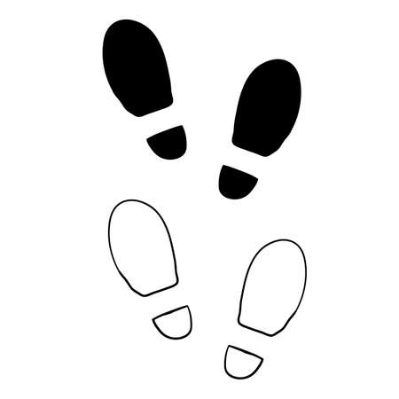 hand drawn shoe print, foot print illustration with doodle cartoon style vector