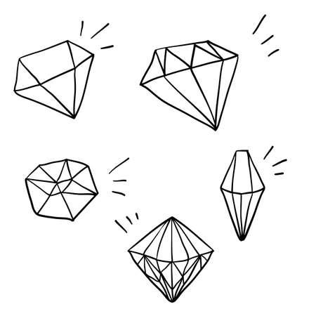 Gekritzel-Diamant-Illustrationsvektor mit Hand gezeichnetem Karikaturartvektor