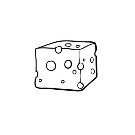 Hand drawn cheese icon doodle vector illustration isolated on white background