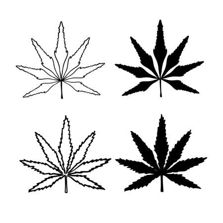 hand drawn doodle cannabis leaf illustration isolated