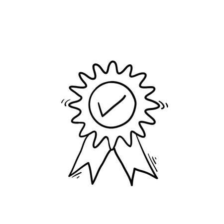 guarantee or medal thin line icon. concept of minimal consumer control emblem or assurance. hand drawn doodle illustration vector
