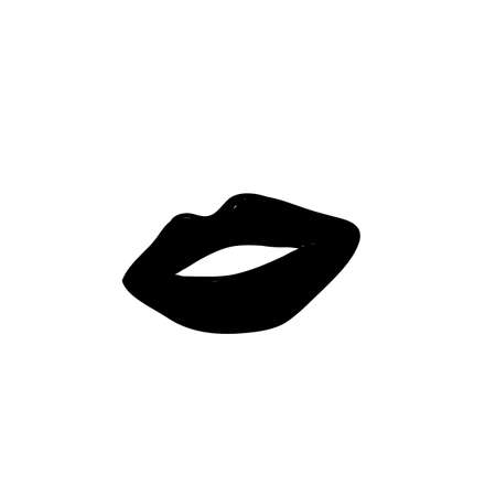 sexy woman lips illustration with hand drawn doodle style isolated Standard-Bild - 137781714