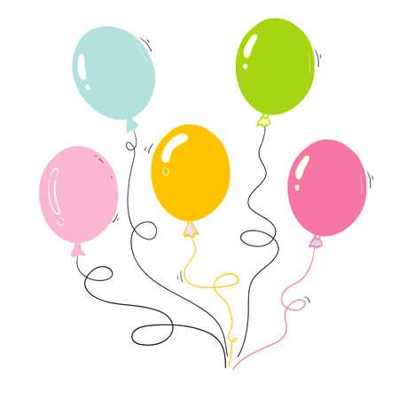 Bunch of balloons in cartoon hand drawn doodle cartoon style isolated on white background. Vector set Vektoros illusztráció
