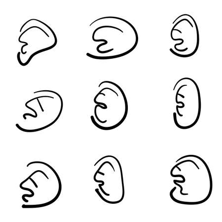 hand drawn ears collection with doodle cartoon style illustration vector isolated